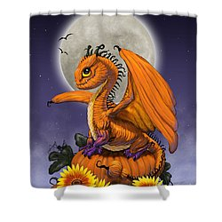 Shower Curtain featuring the digital art Pumpkin Dragon by Stanley Morrison