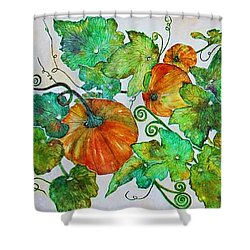Pumpkin Harvest Time Shower Curtain by Janet Immordino