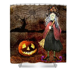 Pumpkinella The Magical Good Witch And Her Magical Cat Shower Curtain