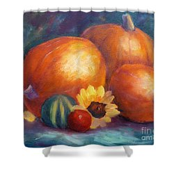 Pumpkins And Flowers Shower Curtain