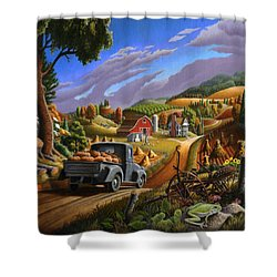 Pumpkins Farm Folk Art Fall Landscape - Square Format Shower Curtain