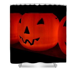 Pumpkins Lined Up Shower Curtain by Kerri Mortenson