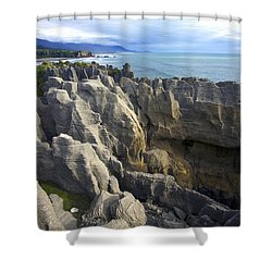 Punakaiki Pancake Rocks #2 Shower Curtain by Stuart Litoff