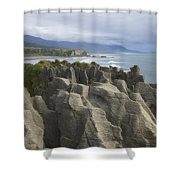 Shower Curtain featuring the photograph Punakaiki Pancake Rocks by Stuart Litoff