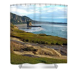 Shower Curtain featuring the photograph Punakaiki Truman Track by Stuart Litoff