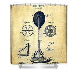 Punching Apparatus Patent Drawing From 1895 -vintage Shower Curtain by Aged Pixel