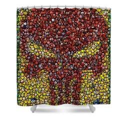 Punisher Bottle Cap Mosaic Shower Curtain by Paul Van Scott