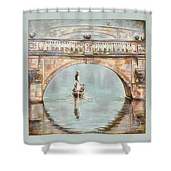 Punting On River Cam Under Clare Bridge Shower Curtain by Leigh Banks
