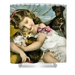 Puppies Kittens And Baby Girl Shower Curtain by Vintage Trading Cards
