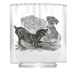Puppy Love - Doberman Pinscher Pup - Color Tinted Shower Curtain