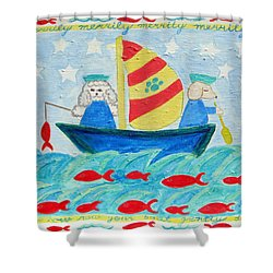 Puppy Sailors Shower Curtain by Diane Pape