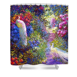 White Peacocks, Pure Bliss Shower Curtain