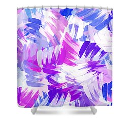 Purple Abstract Paint Pattern Shower Curtain by Christina Rollo