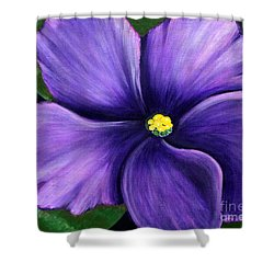 Shower Curtain featuring the painting Purple African Violet by Barbara Griffin