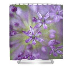 Purple Allium Flower Shower Curtain by Juli Scalzi