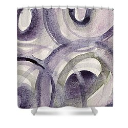 Purple And Green Circles Abstract Panoramic Painting Shower Curtain