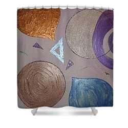 Purple And Metallic Shapes Shower Curtain by Barbara Yearty