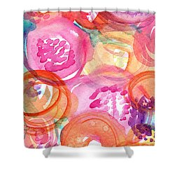 Purple And Orange Flowers Shower Curtain by Linda Woods