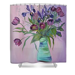 Shower Curtain featuring the painting Purple Belle Bouquet  Tulips And Irises by Asha Carolyn Young