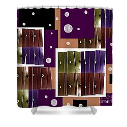 Shower Curtain featuring the mixed media Purple Blitz by Ann Calvo