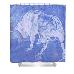 Purple Bull Negative Shower Curtain
