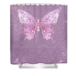 Purple Butterfly Floral Shower Curtain by Alixandra Mullins