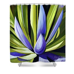 Shower Curtain featuring the painting Purple Cactus by Debbie Hart