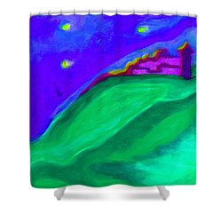 Shower Curtain featuring the painting Purple Castle By Jrr by First Star Art
