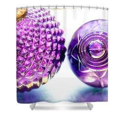 Purple Christmas Balls Shower Curtain