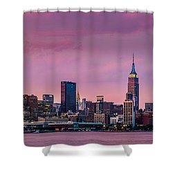 Shower Curtain featuring the photograph Purple City by Mihai Andritoiu