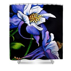 Purple Columbine Shower Curtain