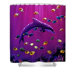 Shower Curtain featuring the painting Purple Dolpins by Lance Headlee