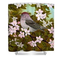 Purple Finch Shower Curtain by Rick Bainbridge