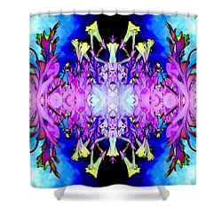 Purple Flower Abstract Shower Curtain by Marianne Dow
