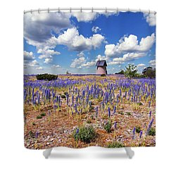 Purple Flower Countryside Shower Curtain
