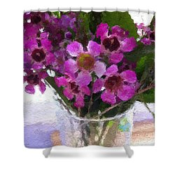Purple Flowers Shower Curtain by Linda Woods