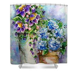 Purple Flowers Shower Curtain by Patrice Torrillo