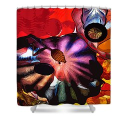 Shower Curtain featuring the digital art Purple Glass In Sea Of Red by Kirt Tisdale