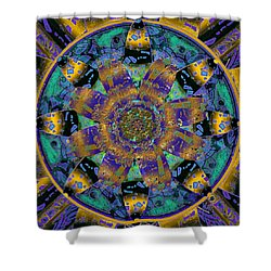 Purple Gold Dream Catcher Mandala Shower Curtain