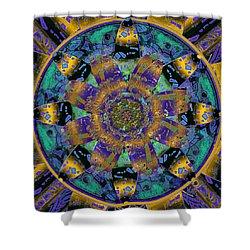 Purple Gold Dream Catcher Mandala Shower Curtain by Michele Avanti