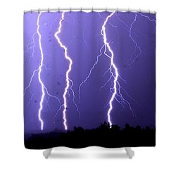 Purple Rain Lightning Shower Curtain