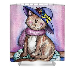 Purple Hat Cat Shower Curtain