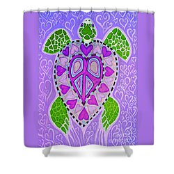Purple Heart Turtle Shower Curtain