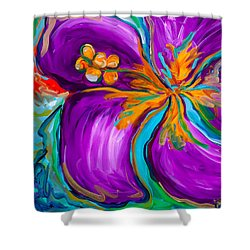 Purple Hibiscus Shower Curtain by Beth Cooper