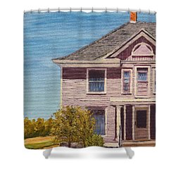 Purple House On The Prairie Shower Curtain by Alan Mager
