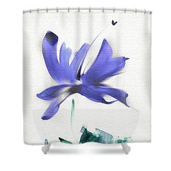 Shower Curtain featuring the mixed media Purple Iris In The Greenery by Frank Bright