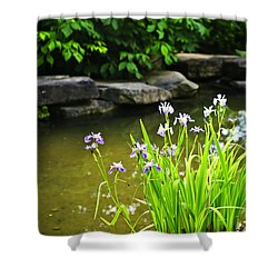 Purple Irises In Pond Shower Curtain by Elena Elisseeva