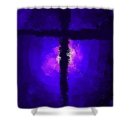 Purple Light Behind The Cross Shower Curtain