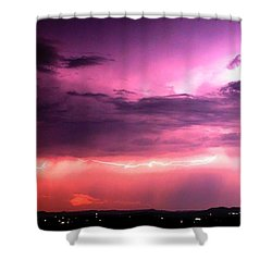 Purple Lightning Panorama Shower Curtain