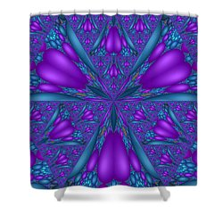 Shower Curtain featuring the digital art Purple Mixed Fractal Flower by Judi Suni Hall